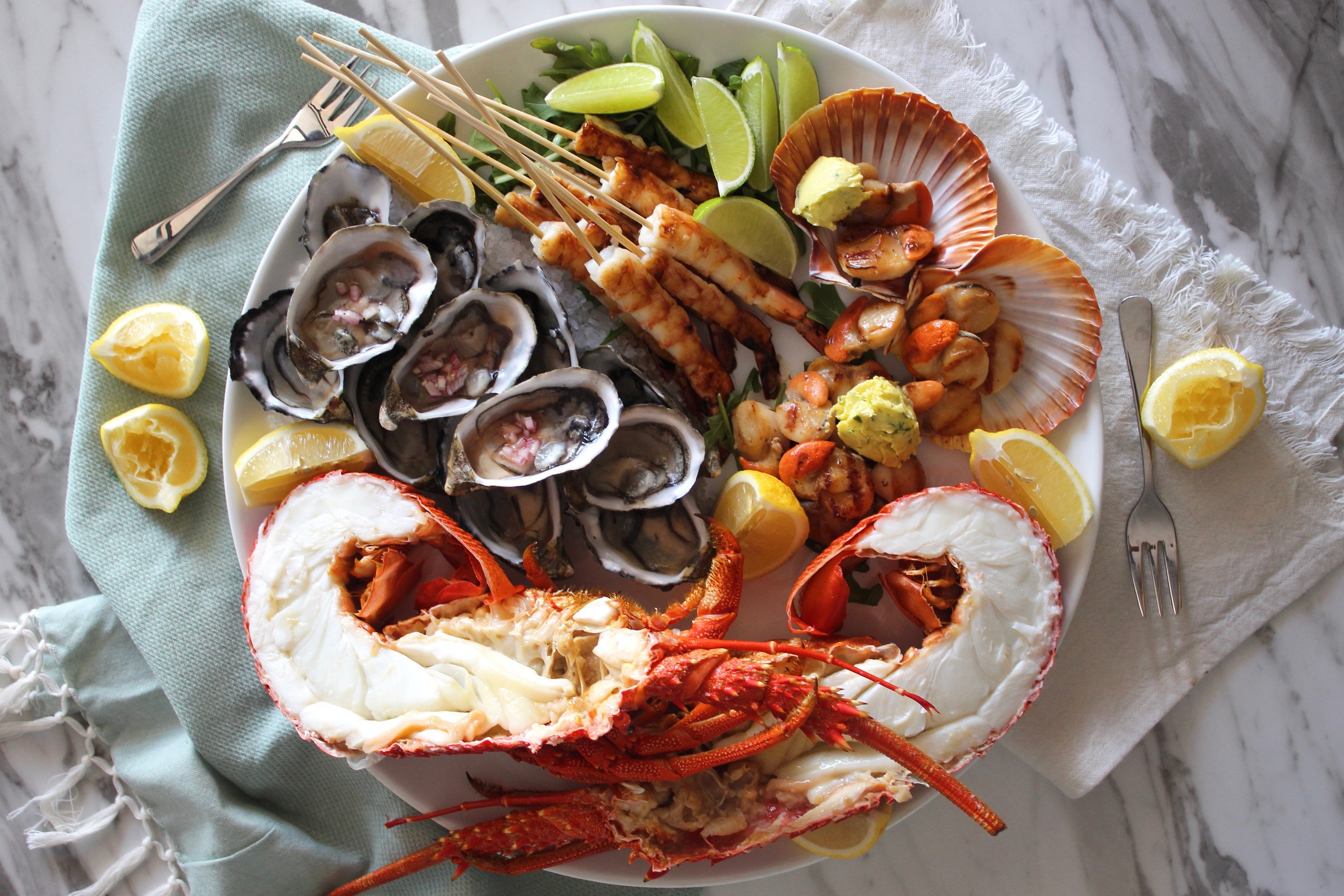 Seafood Platter With Fresh Lobster Oysters Charred Lime Prawns And Grilled Scallops Recipe Ferguson Australia